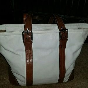 Coach Legacy Purse-Tote Off White /Brown Leather